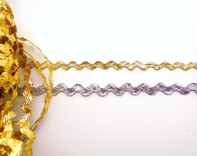 2.5 yds Gold or Silver Metallic Ric Rac Trim - Silver or Gold Zig zag trim, 6mm Gold ric rac trim, 8mm silver ric rack trim