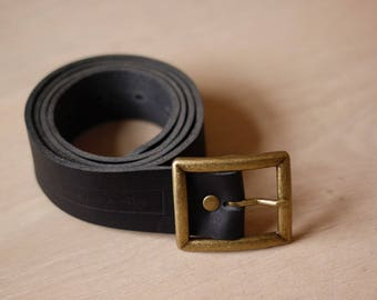 Black Leather Belt - Square Buckle