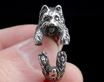 Yorkshire Terrier Ring, Sterling Silver Ring, Dog Ring, Adjustable Ring, Yorkie, Dog Jewelry, Puppy Ring