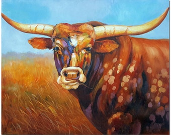 Hand Painted Texas Longhorn Steer Oil Painting On Canvas - Signed Modern Impressinist Cattle Cow Art CERTIFICATE INCLUDED