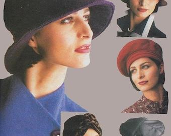 ON SALE Vintage 90s Hat pattern Jean Barthet Vogue 9333 Sewing Pattern 5 styles, Cloche Turban Motorcycle Cap Bucket Hat Rain One Size 50s 3
