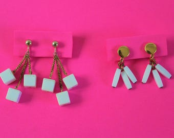 2 Pair Vintage White Lucite Dangly Earrings (Trifari)