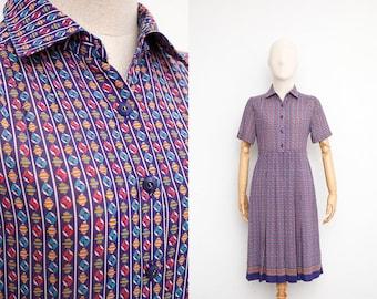 Vintage 70s Dress   Japanese Vintage Dress   Sheer Chiffon Gem Print   Summer Day Dress   Collared Shirt Dress   Secretary Dress   Purple