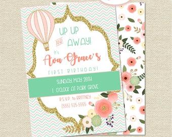 Hot Air Balloon and Floral Birthday Invitation DIGITAL FILE