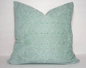 Spa Blue Textured Velvet Diamond Design Seafoam Blue Couch Throw Pillow Cover Size 18x18