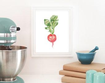 Radish Print, Radish Watercolor, Food Art, Vegetable Art, Vegan, Kitchen Artwork, Wall Decor, Botanical Art, Red, Watercolor Wall Art