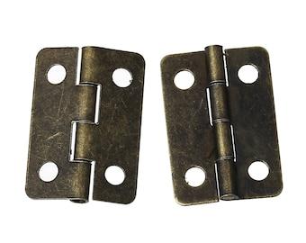 Set of 2 hinges - bronze - size: 22 mm