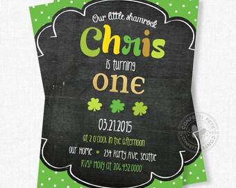 Shamrock Birthday Invitation, St. Patrick's Day Party, Chalkboard Birthday Invitation, Boy Birthday Invitation, Lucky