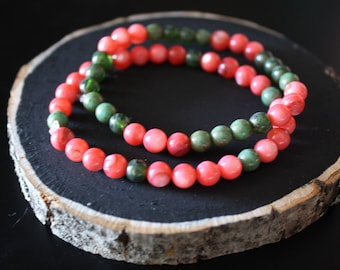 Coral and Green Beaded Bracelets