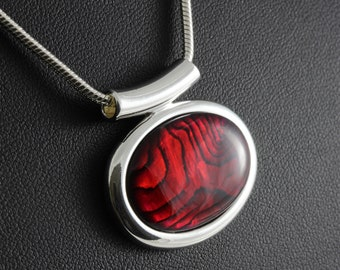 Red abalone shell cabochon pendant