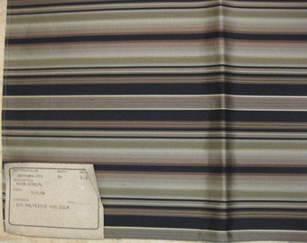 Taupe Black Silk Stripe Highland Court DESIGNER FABRIC SAMPLE Upholstery