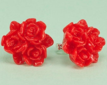 Vintage Red Flower Post Earrings