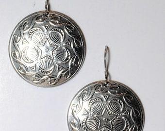 Silver plated art Nuevo disc earrings