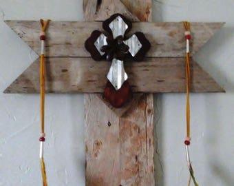 Handmade Wood Cross Rustic with Buckskin & Feather Trim