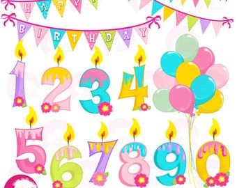 Birthday Clipart, Happy Birthday Clipart, Birthday Numbers, Birthday candles, Commercial Use, AMB-1187