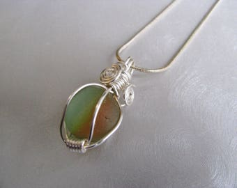 Sea Glass Rainbow Marble Pendant - Green, Orange and Yellow Marble - Prince Edward Island  Pure Sea Glass - Ocean Jewelry Gifts of the Sea