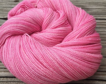 hand dyed lace weight yarn Damsel in Distress pink Silk Treasures Lace yarn merino silk 875 yards hand dyed yarn bubblegum pink carnation