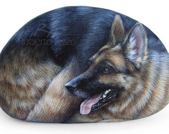 A German Shepherd Dog Painted On a Sea Rock | Stunning Hand Painted Stone Art by Roberto Rizzo