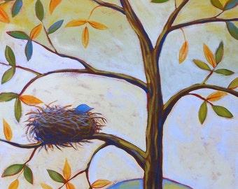 Bird art print ... Bluebird -- 8 x 10 Glossy Print, fun bird in nest print