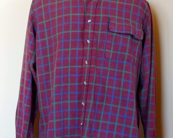 Vintage Button Down Plaid Flannel Shirt Made in USA