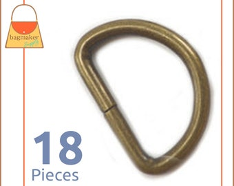 "1 Inch D Ring, Antique Brass / Bronze Finish, 18 Pieces, Handbag Hardware Purse Supplies, 1"" D-Ring, Wire Formed, Not Welded, RNG-AA222"