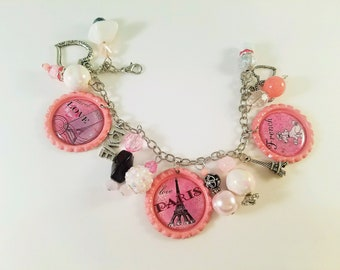Paris Bottlecap Charm Bracelet Pink French Dangle