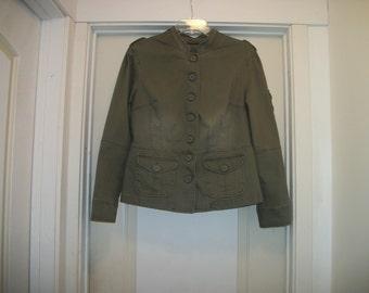 Retro 90s does EDWARDIAN STEAMPUNK Faux Military COSPLAY Faded Kakhi Olive Romance Jacket, Lg