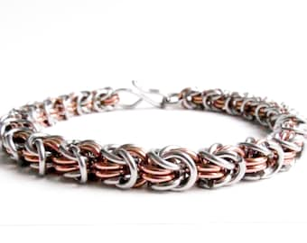 Chainmaille Bracelet - Rosetta Pattern - Copper & Stainless Steel