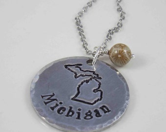 Michigan Necklace, Michigan Jewelry, Michigan Made, Love Michigan, State of Michigan Necklace, Michigan Pendant, Hand Stamped Necklace