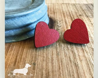 DOLLAR DEAL! Wood Heart. Post Earrings -- (Love, Red, I Love You, Simple, Vintage-Style, Valentine, Heart Earrings, Birthday Gift, Under 10)