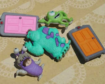 "Monsters Inc - Disney Sewing Shank Loop Buttons - 1 7/16"" Tall - 5 Buttons"