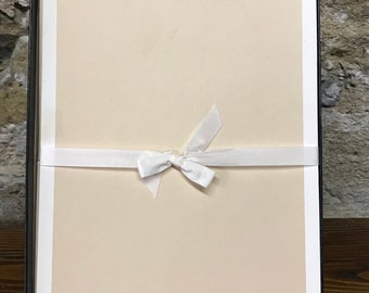 Vintage Beige and White Crane and Co Stationery Paper with Envelopes; 50 envelopes, 50 sheets