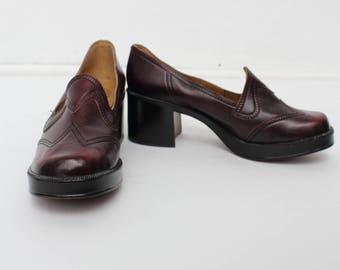 Vintage Burgundy Leather Heel Shoes