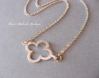 Tiny Silver Clover Necklace, Flower Necklace, Delicate, minimal, casual
