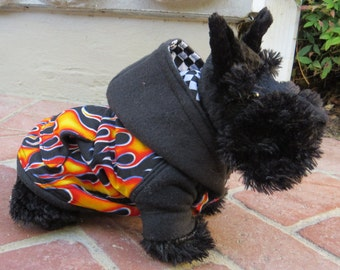 Retro Flame Hoodie for Dog or Cat XSmall-Medium by Cozy Pawz