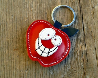 Handmade Leather Keychain Red Apple  - FREE Shipping Worldwide - Red Apple Leather Bag Charm