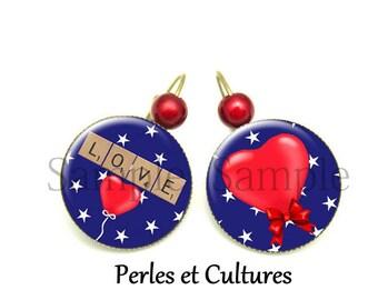 Earrings LOVE scrabble cabochoncoeurs amourღ stars red blue