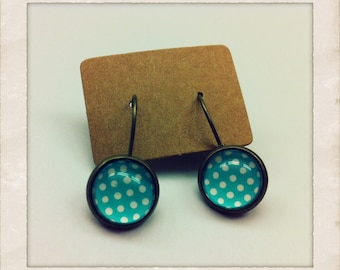 12mm Glass Mint White Polka Dots Vintage Style Earrings