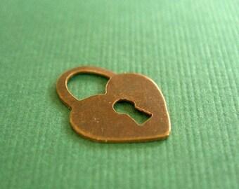 vintaj teensie heart, tiny brass heart, heart charm, 15 x 11mm