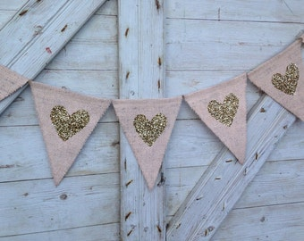 Wedding Decor, Heart Garland, Peach and Gold Wedding, Gold heart Banner, Burlap Bunting, Photo Prop, Valentines Decor, Valentines Banner