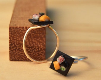 Sushi Knuckle Ring - Polymer Clay Food Midi Ring