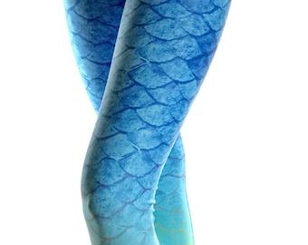Mermaid Leggings - Mermaid Costume - Halloween Costume - Print Leggings - Fish scale Leggings - Fish Costume - Summer Leggings - Kids
