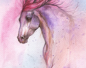 horse portrait in pink and purple, equine portrait, equestrian, Original watercolor painting