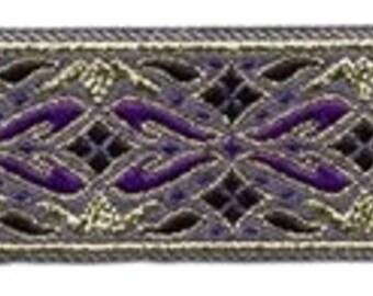 """10 Yard Lot - 7/8"""" Purple Gold Fabric Trim (L7205)"""