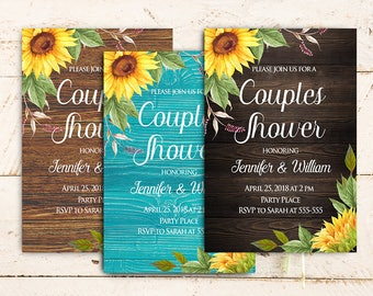 Rustic Couples Shower Invitation Printable, Sunflower Rustic Engagement Party Invitation, Country Rustic Wedding Shower Invitation Digital