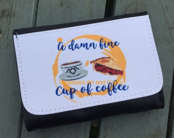 Damn fine cup of coffee, purse, wallet, twin peaks, gift idea, gifts for her, him