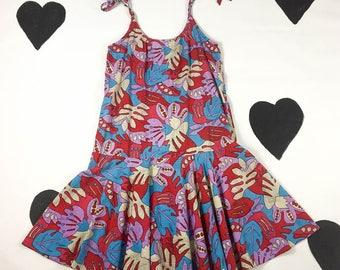 80's deco beach tropical red palm tie shoulder sun dress 1980's drop waist geometric pop art floral summer tank dress front smock pockets M