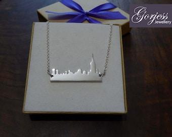 Silver New York Skyline Pendant Necklace