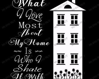 What I Love Most About My Home text wall art etc svg