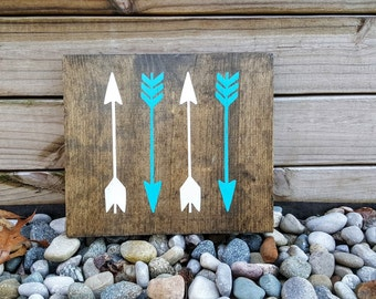 Arrows Sign, Wooden Signs, White and Teal Arrows, Wooden Arrow Sign, Trendy Signs, Nursery Signs, Tribal Signs, Arrows, Woodland, Home Decor